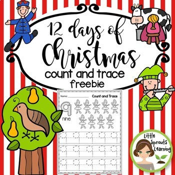 Teacher Appreciation Freebie - Twelve days of Christmas Count and Trace