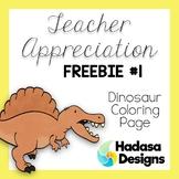Teacher Appreciation Freebie: Dinosaur Coloring Page
