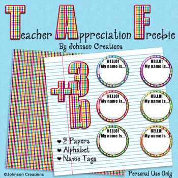 Teacher Appreciation Freebie by Johnson Creations