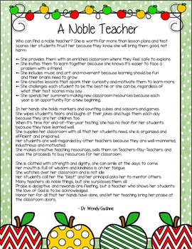 Teacher Appreciation Gift - A Noble Teacher Poem