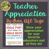 Teacher Appreciation Gift - Redbox Gift Code Tags- Free