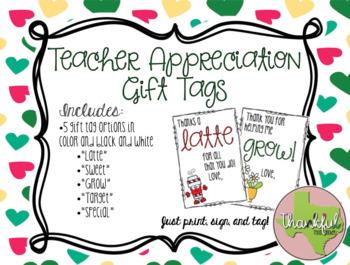 Teacher Appreciation Gift Tags (Set of 5)