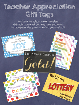 Candy Gift Tags for Back to School, Teacher Appreciation, and Teacher Morale
