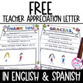 Teacher Appreciation Letter FREEBIE in Spanish & English