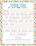 Teacher Appreciation Letter - Traceable, Fill in the Blank Note