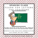 Teacher Appreciation Letter for Spanish Class