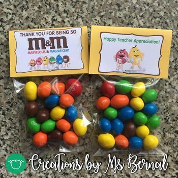 Teacher Appreciation M&Ms Tent Labels