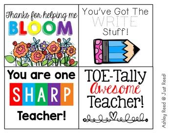Teacher Appreciation Notes FREEBIE