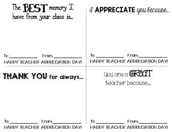 Teacher Appreciation Notes from Students