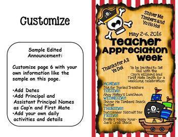 teacher appreciation packet pirate theme by queen of the jungle tpt
