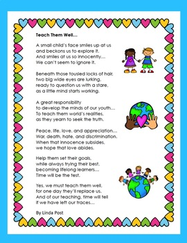 Teacher Appreciation Poem FREE ♥ ♥ Color and Blackline ♥ ♥☀