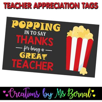Teacher Appreciation Popcorn Labels