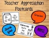 Teacher Appreciation Postcards Freebie