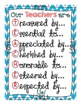 Teacher Appreciation Posters - FREE!