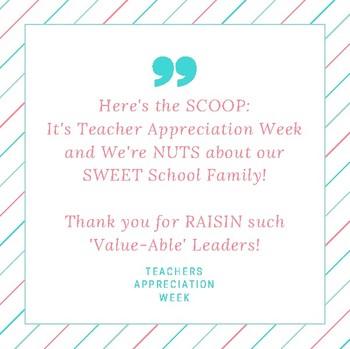 "Teacher Appreciation ""SCOOP"" Sign"