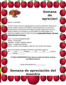 Teacher Appreciation Spanish Letter for Guardians