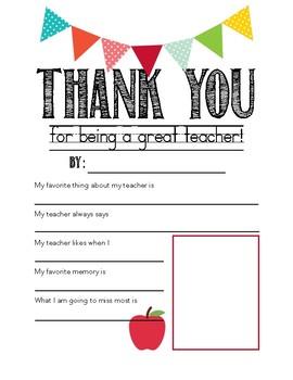 Teacher Appreciation - Student Interview Card