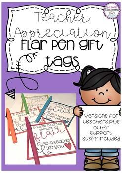 Teacher Appreciation & Support Staff Gift Tags - Flair Pens