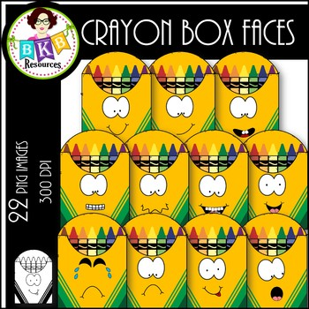 Crayon Box Faces ● Clip Art ● Products for TpT Sellers