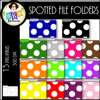 Rainbow Spotted File Folders ● Clip Art ● Products for TpT Seller ●