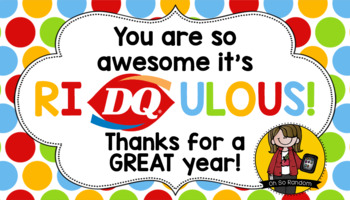 picture regarding Dairy Queen Printable Application called Instructor Appreciation Tag DQ