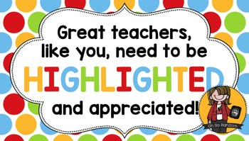 Teacher Appreciation Tag | Highlighted