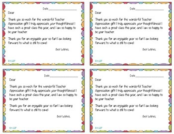 Teacher Appreciation Thank You Cards By Kate S K2 Creations Tpt