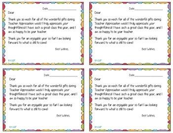 Teacher Appreciation Thank You Cards