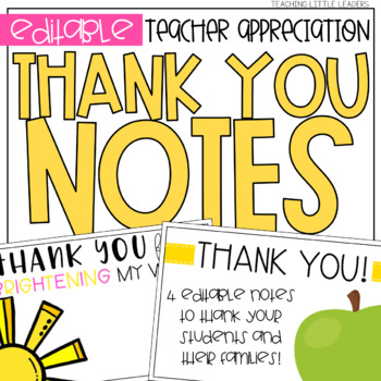 Teacher Appreciation Thank You Notes Freebie By Teaching Little Leaders