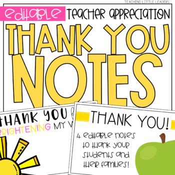 Teacher Appreciation Thank You Notes Freebie by Teaching Little Leaders