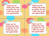 Teacher Appreciation Thank You Notes to Students From Teacher