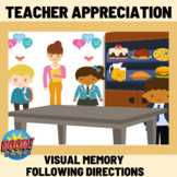 Teacher Appreciation Visual Following Directions - Boom Cards Distance Learning