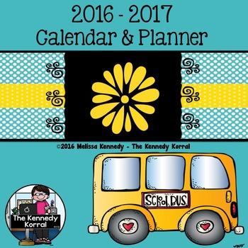 Calendar & Planner 2016-2017 {School Bus}