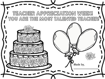 Teacher Appreciation Week - CARD WITH PROMPTS