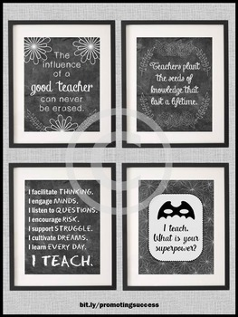 I Teach Whats Your Superpower Poster Chalkboard Classroom Decor BUNDLE