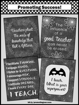 Chalkboard Classroom Decor, Superpower Classroom Theme, Printable Posters Set