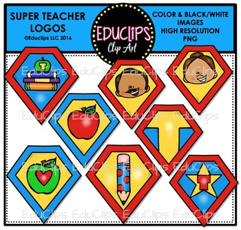 Teacher Appreciation Week - Super Teacher Logos Clip Art {Educlips Clipart}