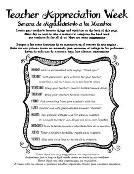 Teacher Appreciation Week - English and Spanish