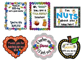 Teacher Appreciation Week Gift Tags-11 Colorful, clever tags to add to your gift