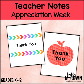 Teacher Appreciation Week THANK YOU Notes FREEBIE