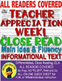 Teacher Appreciation Week/Teacher's Day Close Read Leveled Passages PRINT-N-GO