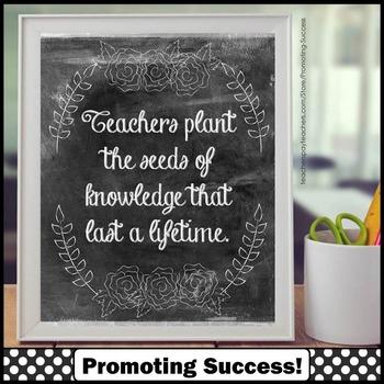 Teacher Quote Poster, Chalkboard Classroom Decor