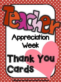 Teacher Appreciation Week Thank You Cards Teacher to Student Student to Teacher