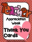 Teacher Appreciation Week Thank You Cards Teacher to Stude