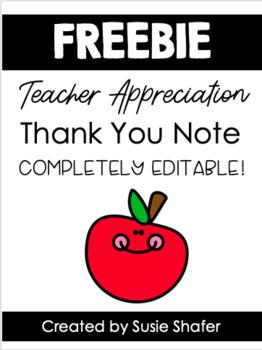 Teacher Appreciation Week Thank You Note (EDITABLE!)