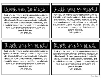 Teacher Appreciation Week Thank You Notes For Students By Monica Abarca