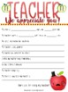 Teacher Appreciation Week, Thank you's, Questionnaire