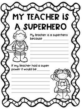 Teacher Appreciation Writing Activities
