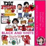 Teacher Appreciation clip art - BLACK AND WHITE - Melonheadz Clipart