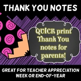 Teacher Appreciation or Last Week of School Thank You note cards.